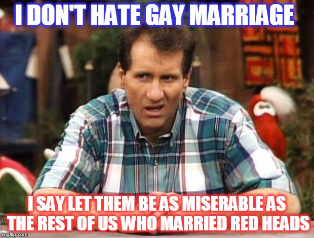 Al Bundy | I DON'T HATE GAY MARRIAGE I SAY LET THEM BE AS MISERABLE AS THE REST OF US WHO MARRIED RED HEADS | image tagged in al bundy | made w/ Imgflip meme maker