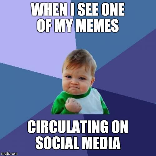 imgflip points are nice and all but it isn't why I make memes | WHEN I SEE ONE OF MY MEMES CIRCULATING ON SOCIAL MEDIA | image tagged in memes,success kid | made w/ Imgflip meme maker
