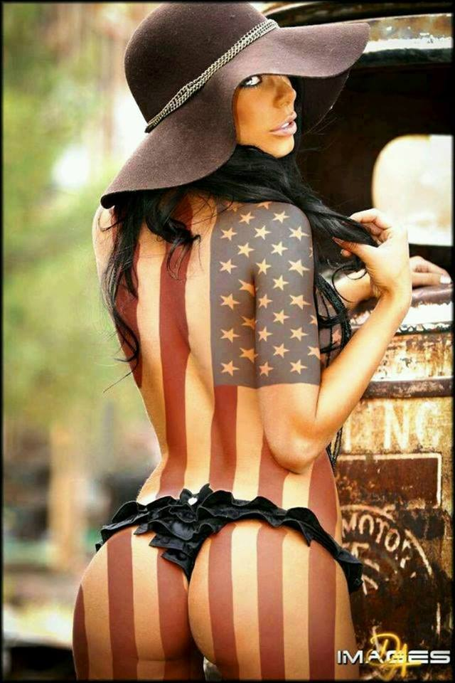 hot sexy women with american flag body paint