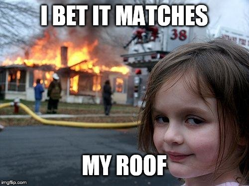 Disaster Girl Meme | I BET IT MATCHES MY ROOF | image tagged in memes,disaster girl | made w/ Imgflip meme maker