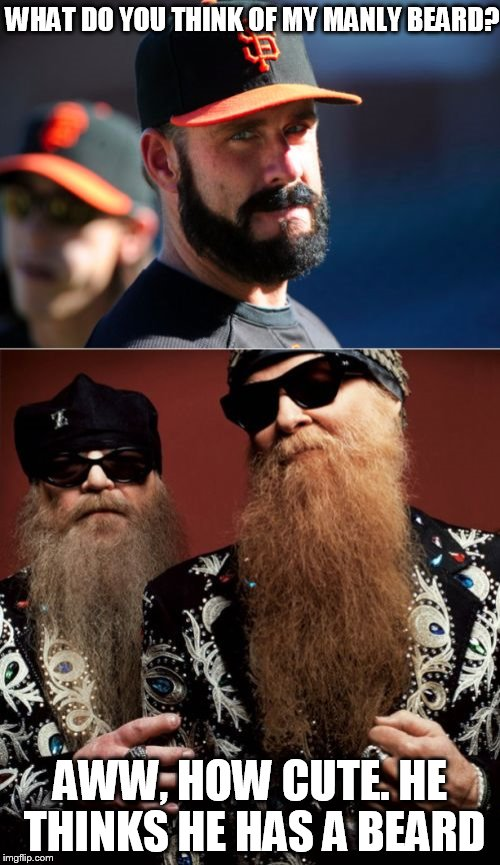 Brian Wilson Vs ZZ Top | WHAT DO YOU THINK OF MY MANLY BEARD? AWW, HOW CUTE. HE THINKS HE HAS A BEARD | image tagged in memes,brian wilson vs zz top | made w/ Imgflip meme maker