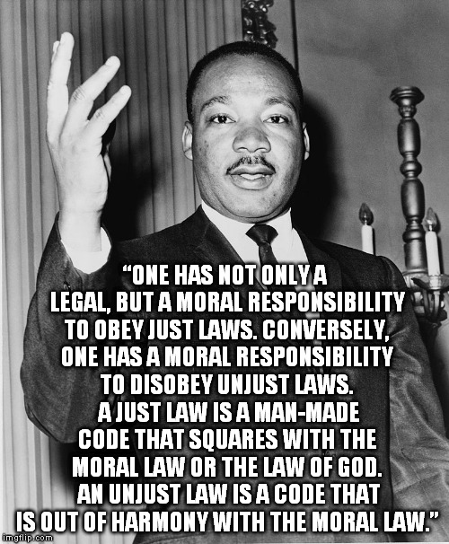 "Martin Luther King, Jr. | ""ONE HAS NOT ONLY A LEGAL, BUT A MORAL RESPONSIBILITY TO OBEY JUST LAWS. CONVERSELY, ONE HAS A MORAL RESPONSIBILITY TO DISOBEY UNJUST LAWS.  