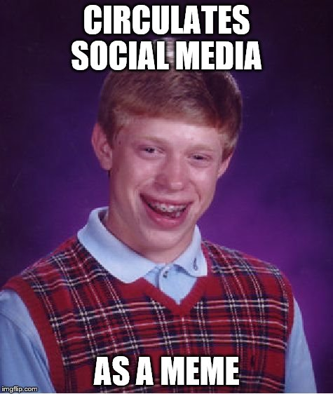 Bad Luck Brian Meme | CIRCULATES SOCIAL MEDIA AS A MEME | image tagged in memes,bad luck brian | made w/ Imgflip meme maker