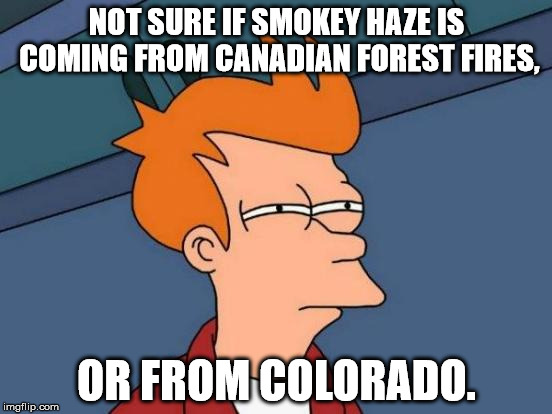 But seriously... Canada has a serious problem. | NOT SURE IF SMOKEY HAZE IS COMING FROM CANADIAN FOREST FIRES, OR FROM COLORADO. | image tagged in memes,futurama fry,forest fire,shawnljohnson,marijuana,smoke | made w/ Imgflip meme maker