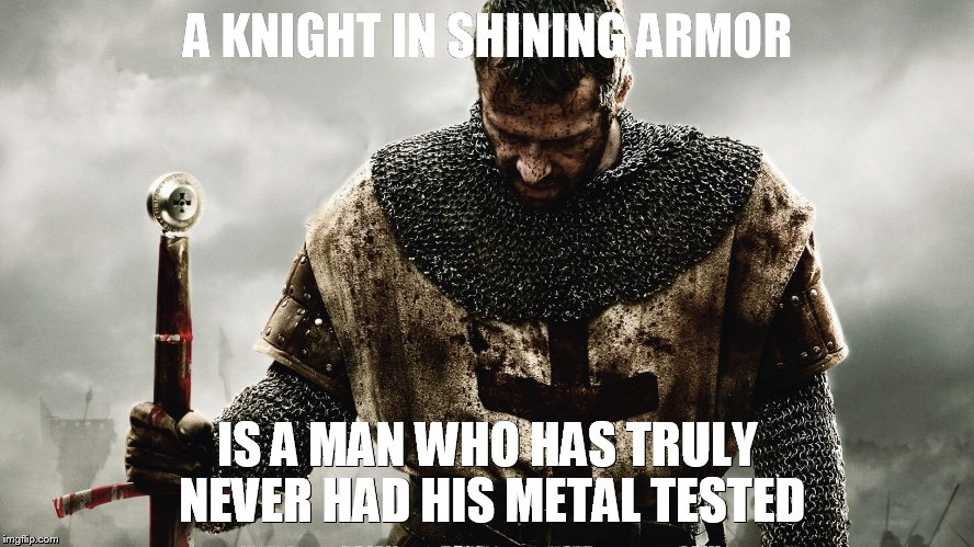 crusader | A KNIGHT IN SHINING ARMOR IS A MAN WHO HAS TRULY NEVER HAD HIS METAL TESTED | image tagged in knight | made w/ Imgflip meme maker