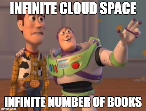 X, X Everywhere Meme | INFINITE CLOUD SPACE INFINITE NUMBER OF BOOKS | image tagged in memes,x x everywhere | made w/ Imgflip meme maker