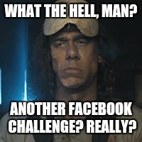 I'm not in love with it. | WHAT THE HELL, MAN? ANOTHER FACEBOOK CHALLENGE? REALLY? | image tagged in chainsaw guy,facebook,fuckfacebook,horror,geico,ice bucket challenge | made w/ Imgflip meme maker