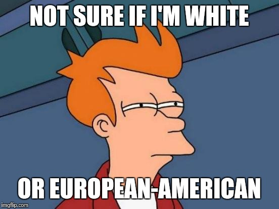 Futurama Fry Meme | NOT SURE IF I'M WHITE OR EUROPEAN-AMERICAN | image tagged in memes,futurama fry | made w/ Imgflip meme maker