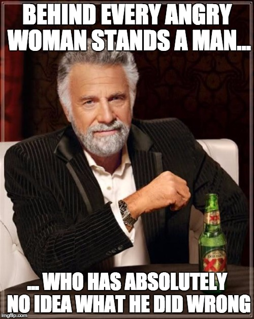 The Most Interesting Man In The World Meme | BEHIND EVERY ANGRY WOMAN STANDS A MAN... ... WHO HAS ABSOLUTELY NO IDEA WHAT HE DID WRONG | image tagged in memes,the most interesting man in the world | made w/ Imgflip meme maker