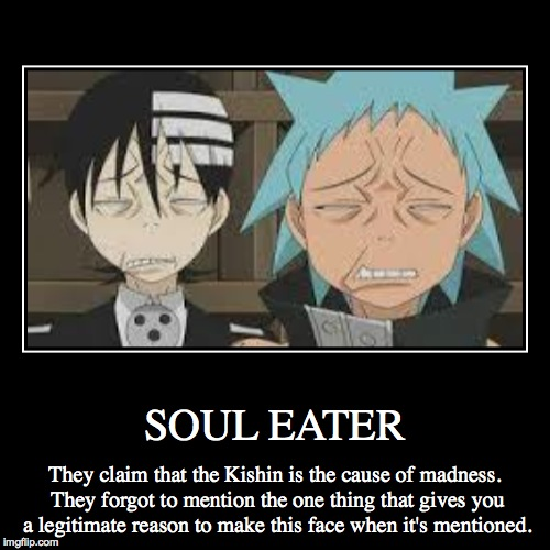 FOOLS! | SOUL EATER | They claim that the Kishin is the cause of madness. They forgot to mention the one thing that gives you a legitimate reason to  | image tagged in funny,demotivationals,anime,soul eater,excalibur,death the kid | made w/ Imgflip demotivational maker