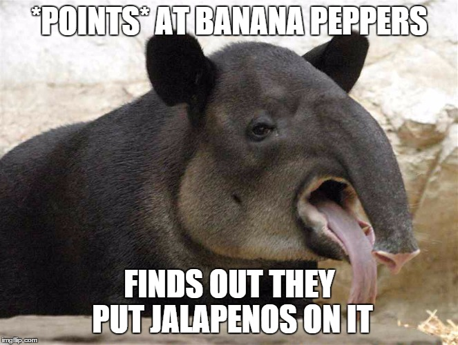 Livin' fresh at Subway. | *POINTS* AT BANANA PEPPERS FINDS OUT THEY PUT JALAPENOS ON IT | image tagged in subway,jalapenos,funny mistakes | made w/ Imgflip meme maker