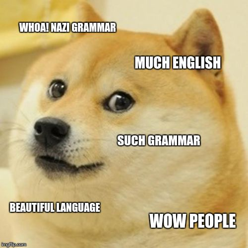 Doge Meme | WHOA! NAZI GRAMMAR MUCH ENGLISH SUCH GRAMMAR BEAUTIFUL LANGUAGE WOW PEOPLE | image tagged in memes,doge | made w/ Imgflip meme maker