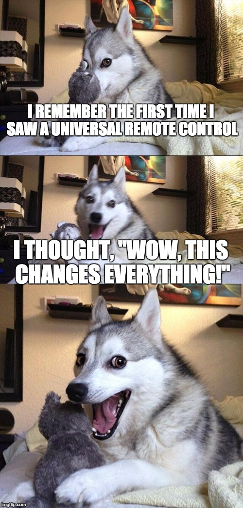 "Bad Pun Dog Meme | I REMEMBER THE FIRST TIME I SAW A UNIVERSAL REMOTE CONTROL I THOUGHT, ""WOW, THIS CHANGES EVERYTHING!"" 