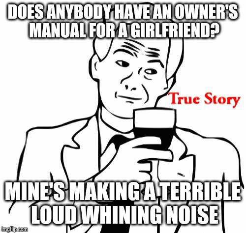 True Story | DOES ANYBODY HAVE AN OWNER'S MANUAL FOR A GIRLFRIEND? MINE'S MAKING A TERRIBLE LOUD WHINING NOISE | image tagged in memes,true story | made w/ Imgflip meme maker