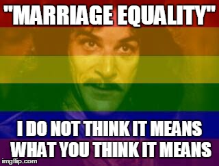 """MARRIAGE EQUALITY"" I DO NOT THINK IT MEANS WHAT YOU THINK IT MEANS 