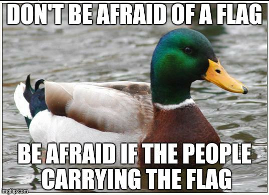 Actual Advice Mallard | DON'T BE AFRAID OF A FLAG BE AFRAID IF THE PEOPLE CARRYING THE FLAG | image tagged in memes,actual advice mallard | made w/ Imgflip meme maker