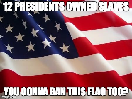 American flag | 12 PRESIDENTS OWNED SLAVES YOU GONNA BAN THIS FLAG TOO? | image tagged in american flag | made w/ Imgflip meme maker