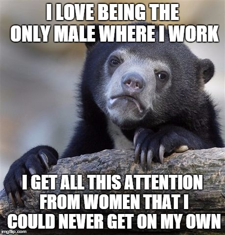 Confession Bear Meme | I LOVE BEING THE ONLY MALE WHERE I WORK I GET ALL THIS ATTENTION FROM WOMEN THAT I COULD NEVER GET ON MY OWN | image tagged in memes,confession bear,AdviceAnimals | made w/ Imgflip meme maker