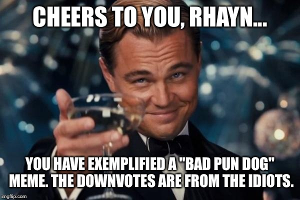 "Leonardo Dicaprio Cheers Meme | CHEERS TO YOU, RHAYN... YOU HAVE EXEMPLIFIED A ""BAD PUN DOG"" MEME. THE DOWNVOTES ARE FROM THE IDIOTS. 