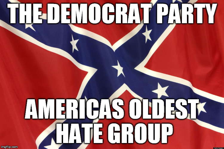 The Democrats  | THE DEMOCRAT PARTY AMERICAS OLDEST HATE GROUP | image tagged in confederate flag,liberals,hate | made w/ Imgflip meme maker