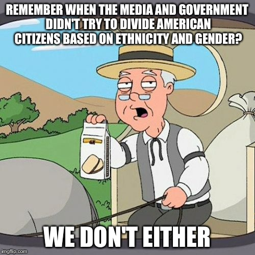 It's been happening for a long time. | REMEMBER WHEN THE MEDIA AND GOVERNMENT DIDN'T TRY TO DIVIDE AMERICAN CITIZENS BASED ON ETHNICITY AND GENDER? WE DON'T EITHER | image tagged in memes,pepperidge farm remembers | made w/ Imgflip meme maker