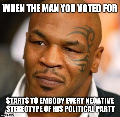 Disappointed Tyson | WHEN THE MAN YOU VOTED FOR STARTS TO EMBODY EVERY NEGATIVE STEREOTYPE OF HIS POLITICAL PARTY | image tagged in memes,disappointed tyson | made w/ Imgflip meme maker