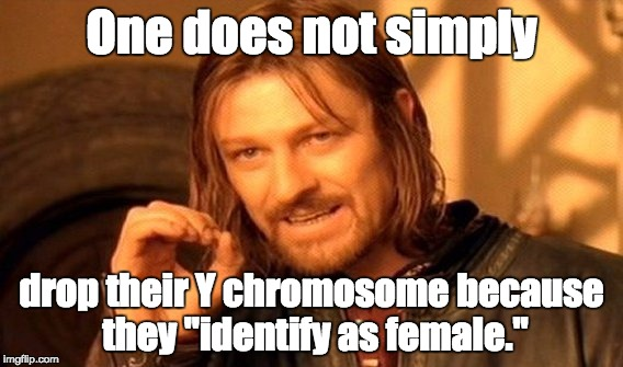 "One Does Not Simply Meme | One does not simply drop their Y chromosome because they ""identify as female."" 
