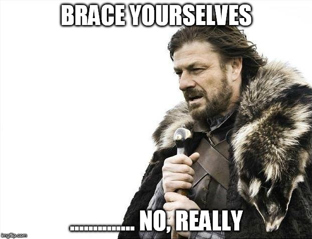 Brace Yourselves X is Coming Meme | BRACE YOURSELVES .............. NO, REALLY | image tagged in memes,brace yourselves x is coming | made w/ Imgflip meme maker