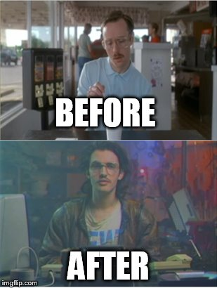 Napolean Dynamite and Kung Fury meet | BEFORE AFTER | image tagged in napolean dynamite,kung fury | made w/ Imgflip meme maker