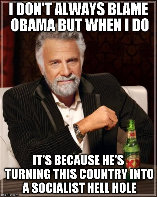 The Most Interesting Man In The World Meme | I DON'T ALWAYS BLAME OBAMA BUT WHEN I DO IT'S BECAUSE HE'S TURNING THIS COUNTRY INTO A SOCIALIST HELL HOLE | image tagged in memes,the most interesting man in the world | made w/ Imgflip meme maker