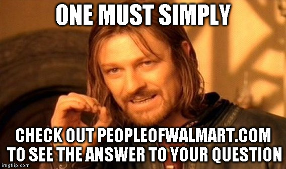 One Does Not Simply Meme | ONE MUST SIMPLY CHECK OUT PEOPLEOFWALMART.COM TO SEE THE ANSWER TO YOUR QUESTION | image tagged in memes,one does not simply | made w/ Imgflip meme maker