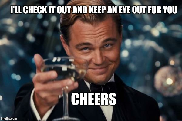 Leonardo Dicaprio Cheers Meme | I'LL CHECK IT OUT AND KEEP AN EYE OUT FOR YOU CHEERS | image tagged in memes,leonardo dicaprio cheers | made w/ Imgflip meme maker