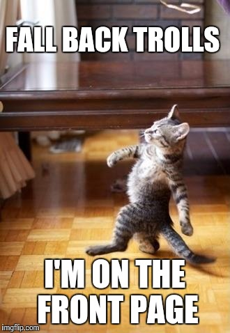 Cool Cat Stroll Meme | FALL BACK TROLLS I'M ON THE FRONT PAGE | image tagged in memes,cool cat stroll | made w/ Imgflip meme maker
