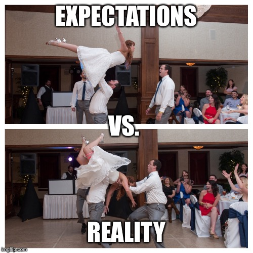 Dirty Dancing Lift Fail | EXPECTATIONS REALITY VS. | image tagged in dirtydancing,dirtydancinglift,wedding,bride,groom,epic fail | made w/ Imgflip meme maker