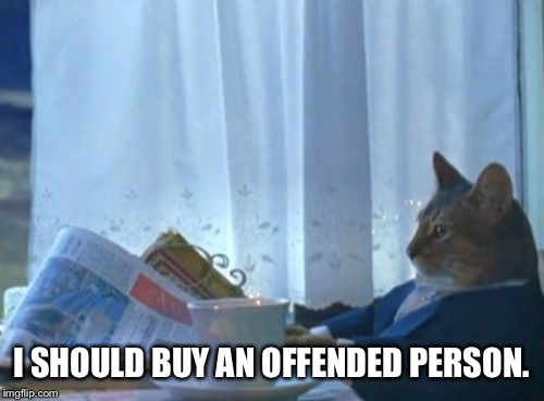 I Should Buy A Boat Cat Meme | I SHOULD BUY AN OFFENDED PERSON. | image tagged in memes,i should buy a boat cat | made w/ Imgflip meme maker