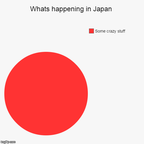 Whats happening in japan... | Whats happening in Japan | Some crazy stuff | image tagged in funny,pie charts,japan,memes,crazy,flag | made w/ Imgflip chart maker