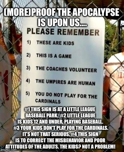 Little League Parents' Shame Sign..LOL! | (MORE)PROOF THE APOCALYPSE IS UPON US.... #1 THIS SIGN IS AT A LITTLE LEAGUE BASEBALL PARK. #2 LITTLE LEAGUE IS KIDS 12 AND UNDER, PLAYING  | image tagged in sports fans,scumbag parents,baseball,funny sign | made w/ Imgflip meme maker