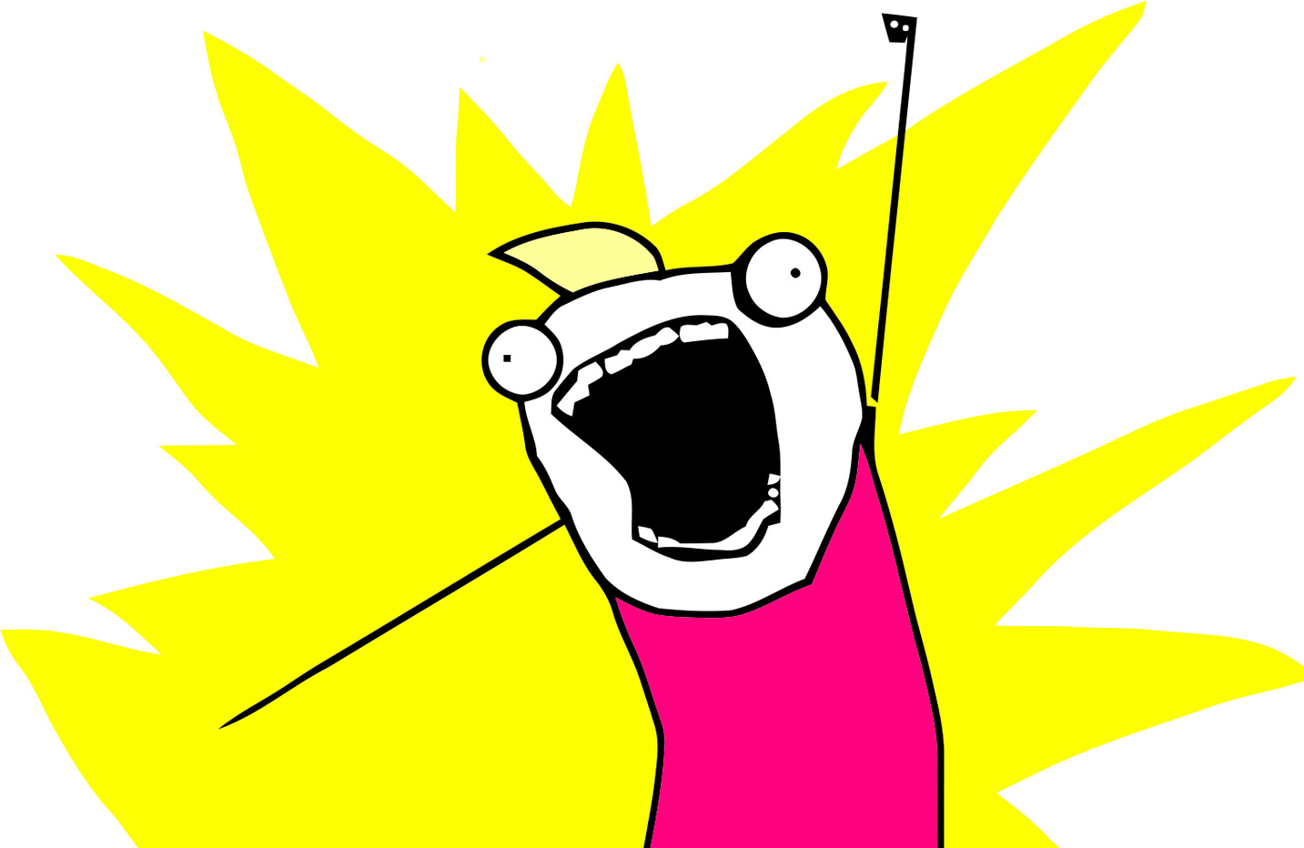 Allie Brosh's MS paint self-portrait in which she's raising one fist in the air in celebratory determination.