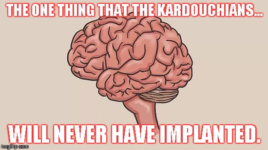 Brainless Kardouchians | THE ONE THING THAT THE KARDOUCHIANS... WILL NEVER HAVE IMPLANTED. | image tagged in kardashians | made w/ Imgflip meme maker