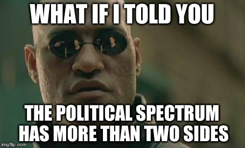 Matrix Morpheus Meme | WHAT IF I TOLD YOU THE POLITICAL SPECTRUM HAS MORE THAN TWO SIDES | image tagged in memes,matrix morpheus | made w/ Imgflip meme maker