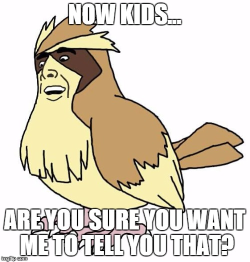 Handsome Pidgey | NOW KIDS... ARE YOU SURE YOU WANT ME TO TELL YOU THAT? | image tagged in handsome pidgey | made w/ Imgflip meme maker
