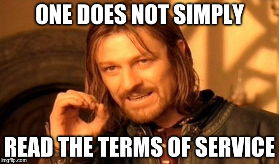 One Does Not Simply | ONE DOES NOT SIMPLY READ THE TERMS OF SERVICE | image tagged in memes,one does not simply | made w/ Imgflip meme maker