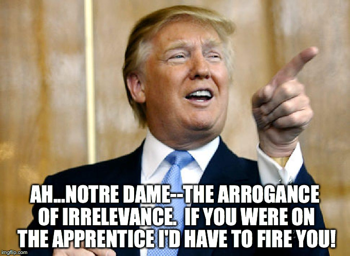 Notre Dame Hater | AH...NOTRE DAME--THE ARROGANCE OF IRRELEVANCE.  IF YOU WERE ON THE APPRENTICE I'D HAVE TO FIRE YOU! | image tagged in notre dame | made w/ Imgflip meme maker