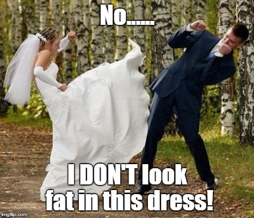 Angry Bride | No...... I DON'T look fat in this dress! | image tagged in memes,angry bride | made w/ Imgflip meme maker