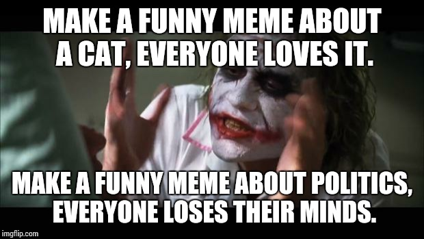 And everybody loses their minds Meme | MAKE A FUNNY MEME ABOUT A CAT, EVERYONE LOVES IT. MAKE A FUNNY MEME ABOUT POLITICS, EVERYONE LOSES THEIR MINDS. | image tagged in memes,and everybody loses their minds | made w/ Imgflip meme maker