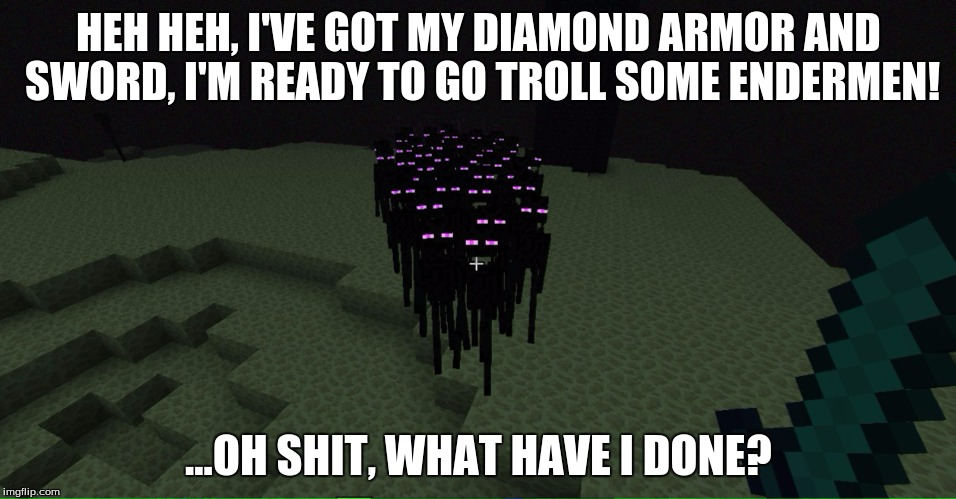 Uh... two out of three? | HEH HEH, I'VE GOT MY DIAMOND ARMOR AND SWORD, I'M READY TO GO TROLL SOME ENDERMEN! ...OH SHIT, WHAT HAVE I DONE? | image tagged in endermen,minecraft,memes,nope,troll,oh shit | made w/ Imgflip meme maker