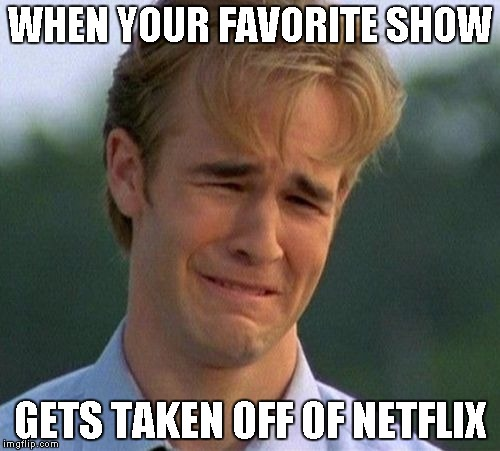 1990s First World Problems | WHEN YOUR FAVORITE SHOW GETS TAKEN OFF OF NETFLIX | image tagged in memes,1990s first world problems | made w/ Imgflip meme maker
