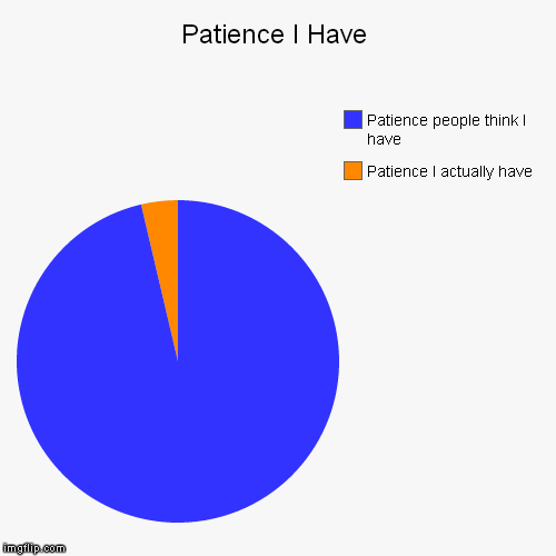 Patience I Have | Patience I actually have, Patience people think I have | image tagged in funny,pie charts | made w/ Imgflip chart maker