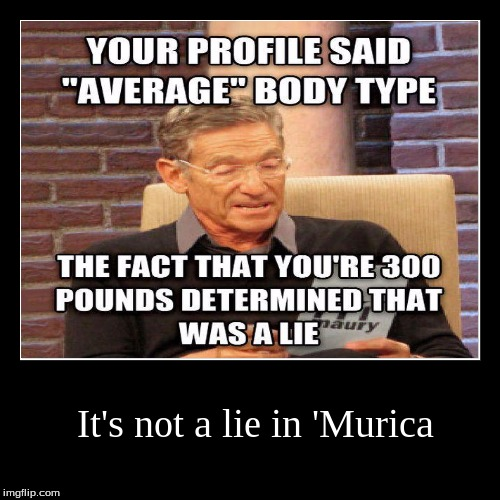 Land of the free and the home of the fat... | It's not a lie in 'Murica | | image tagged in funny,demotivationals,'murica,fat,profile,maury lie detector | made w/ Imgflip demotivational maker