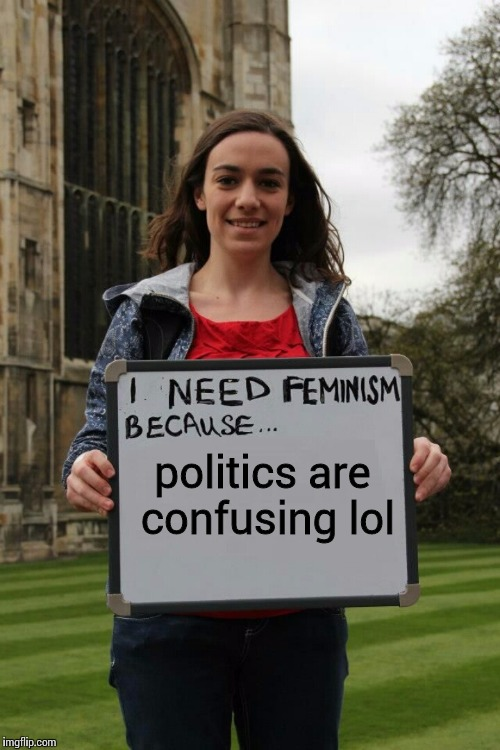 I need femtardation because | politics are confusing lol | image tagged in i need femtardation because | made w/ Imgflip meme maker